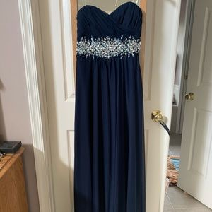 Navy floor length formal gown